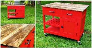 DIY Wooden Pallet Kitchen Island