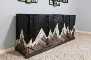 repurposed pallet dresser inspired of mountain range