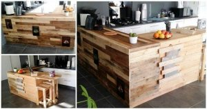Pallet Kitchen Counter with Breakfast Table