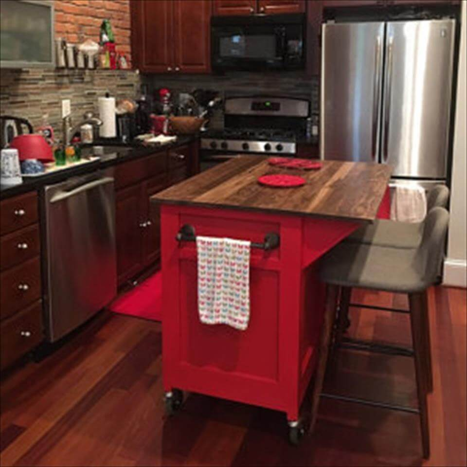 Kitchen Island Out Of Pallets: DIY Wooden Pallet Kitchen Island