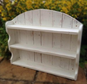 reclaimed shabby chic white pallet arched shelving unit
