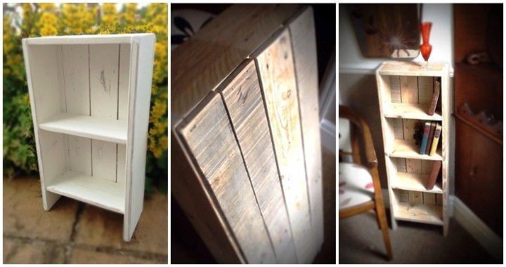 White painted pallet bookcase pallets pro for White painted pallets