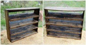 Wooden Pallet Entryway Shoe Rack