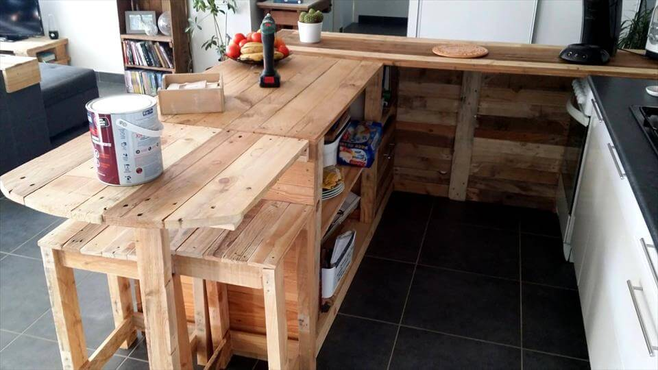 Pallet Kitchen Counter with Breakfast Table & Storage - Pallets Pro