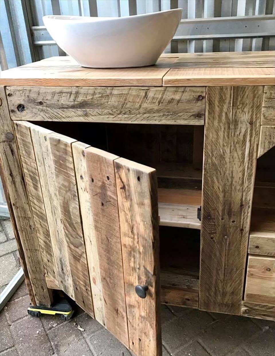 pallet bathroom cabinet designs  pallets pro