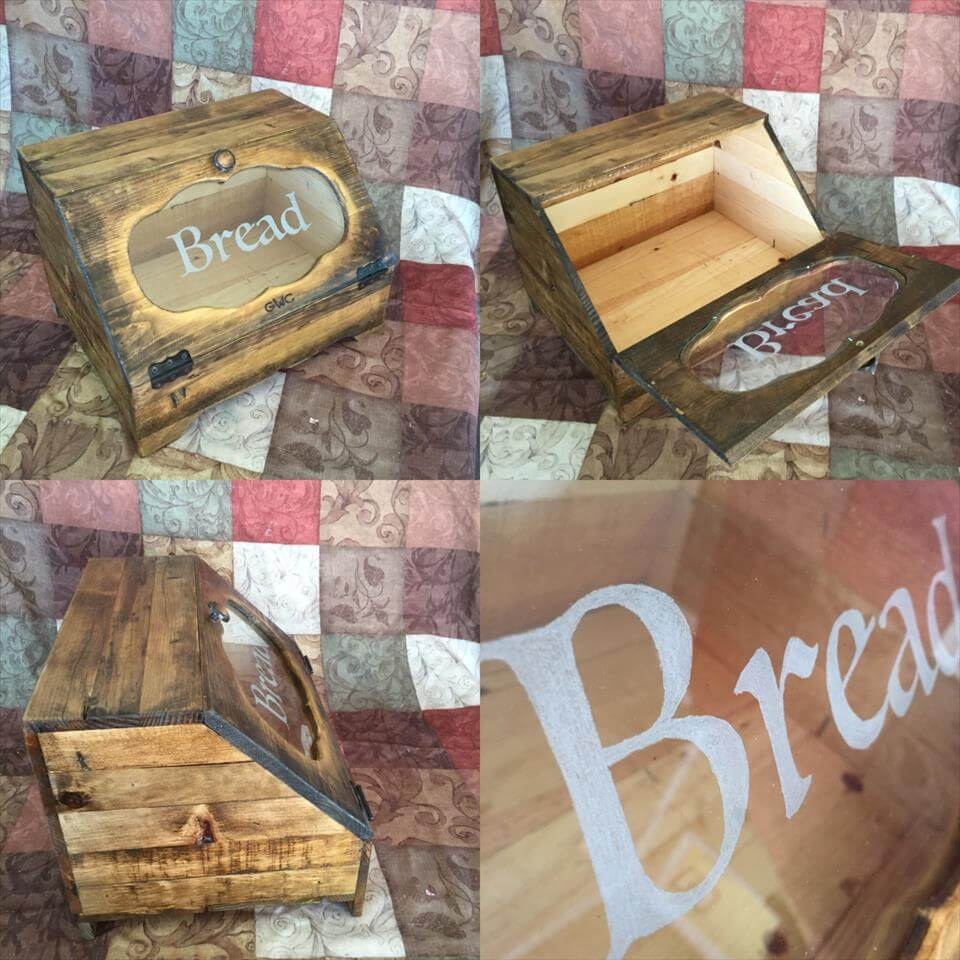 wooden pallet bread box