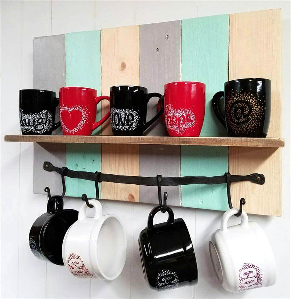 lovely pallet coffee mug rack