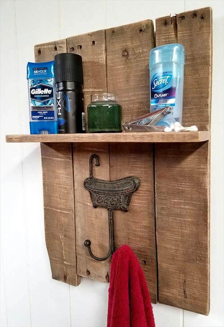 Diy Pallet Towel Rack With A Shelf Pallets Pro