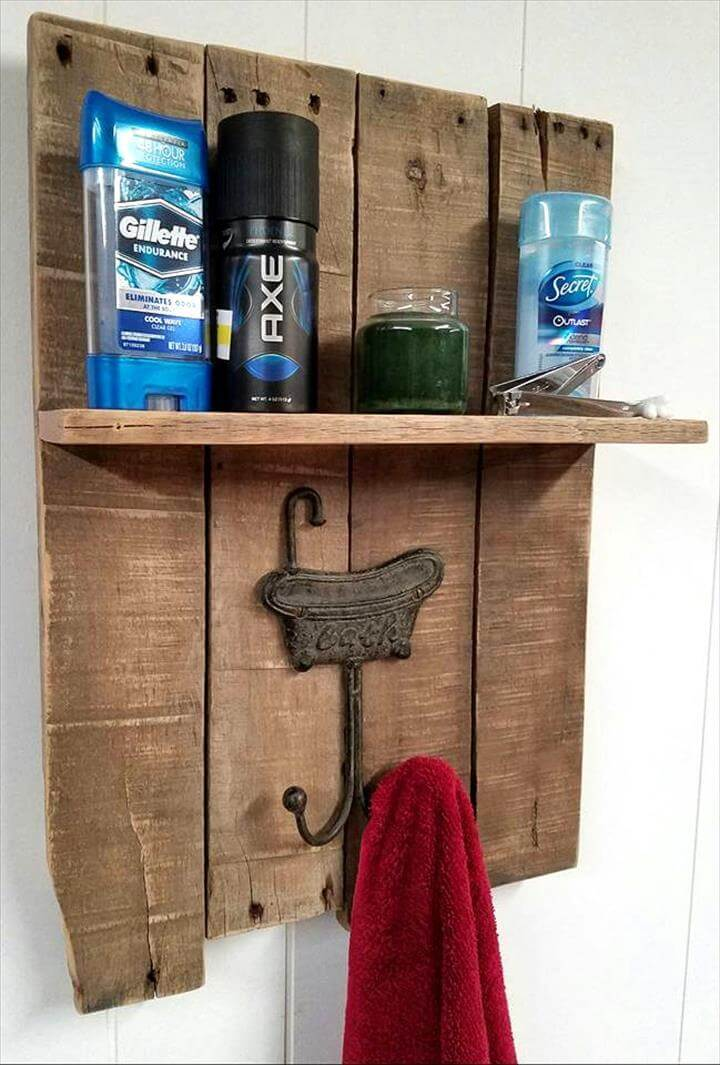 Diy Pallet Towel Rack With A Shelf Pallets Pro