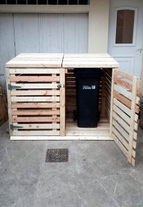 recycled pallet trash can cabinet