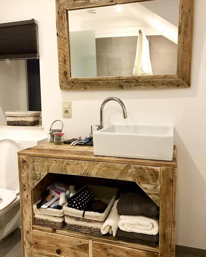 awesome pallet bathroom vanity and mirror