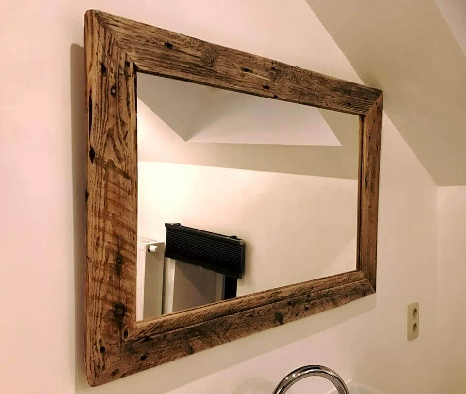 rustic pallet bathroom mirror