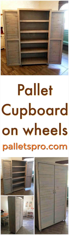 cute pallet cupboard on wheels