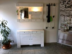 diy pallet mirror, coat rack and a chest of drawers