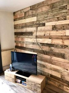 Re-purposed pallet wall paneling