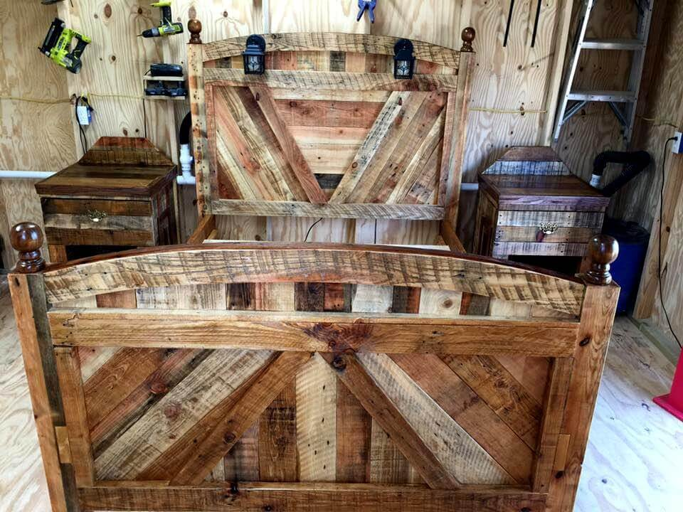 Diy pallet bed frame with lighted headboard and night for How to make a bed stand