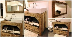 DIY Pallet Bathroom Vanity and Mirror
