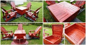 DIY Pallet Adirondack Chairs Set with Coffee Table