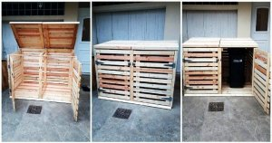 Pallet Trash Can Cabinet