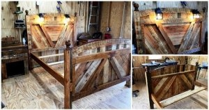 Pallet Bed Frame With Lighted Headboard and Night Stands