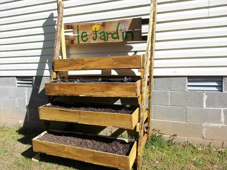 multi-tiered pallet garden planter