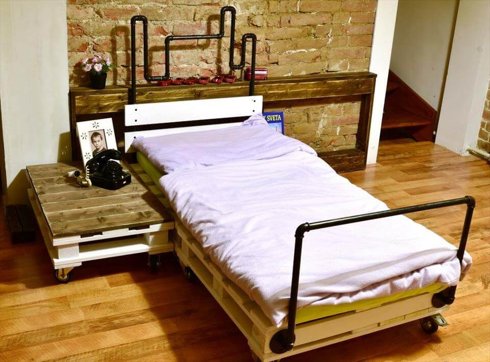 pallet and old metal pipe bed