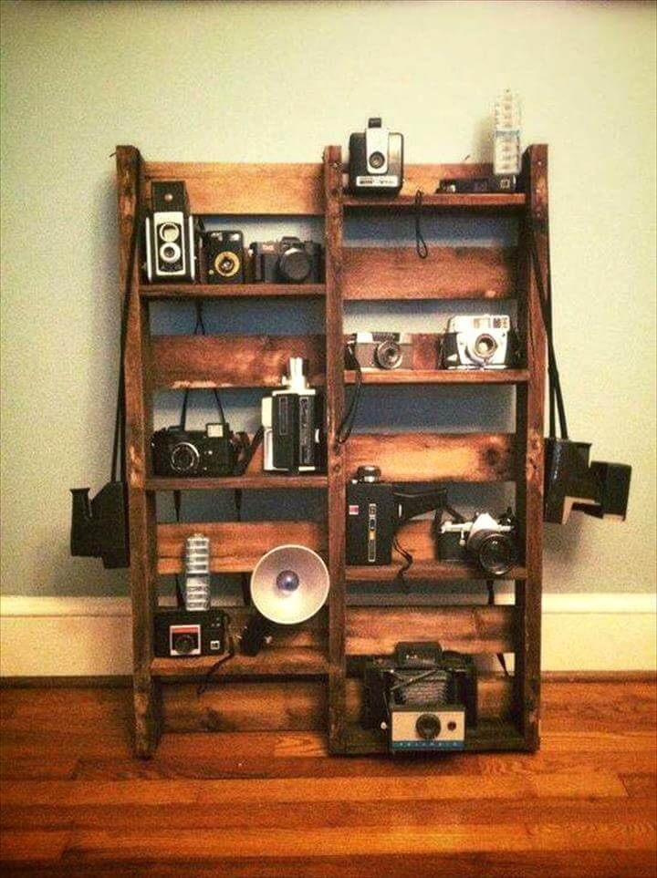 upcycled pallet camera rack or organizer