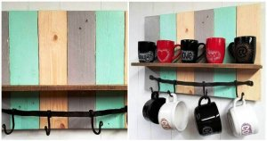 Multi Colored DIY Pallet Coffee Mug Rack / Shelf