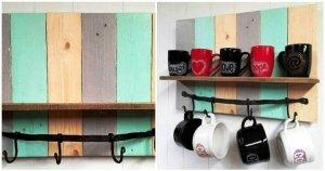 Multi Colored DIY Pallet Coffee Mug Rack / Shelf
