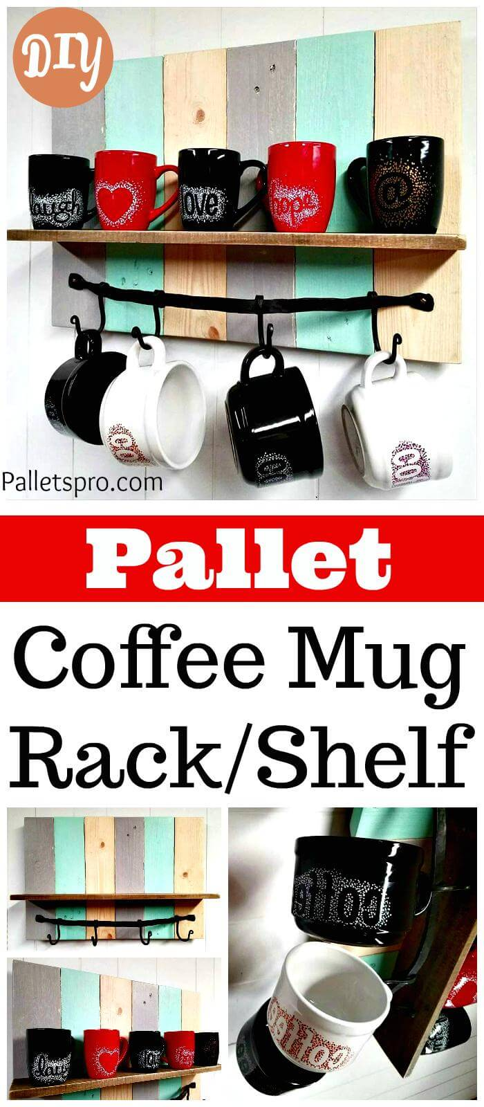DIY Pallet Coffee Mug Rack