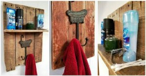 Pallet Towel Rack with a Shelf