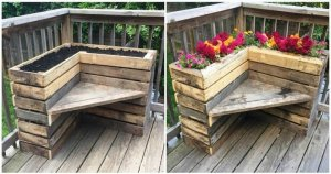 DIY Pallet Bench with Flower Box for Corner