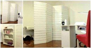 Pallet Room Divider, Shelf and Desk for Clinic