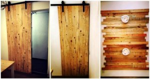 Pallet Wall Paneling and Sliding Door